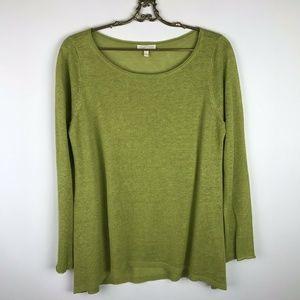 Eileen Fisher Organic Linen Sweater Green Scoop